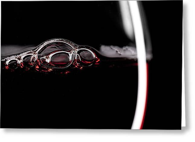 Red Wine Glass Silhouette On Black Greeting Card
