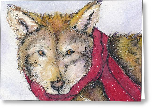 Red Wolf And Scarf Greeting Card