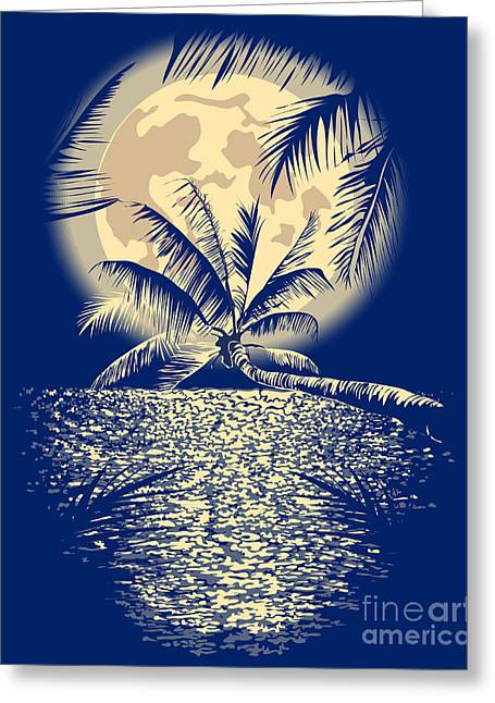 Reflected In The Ocean Full Moon On Greeting Card