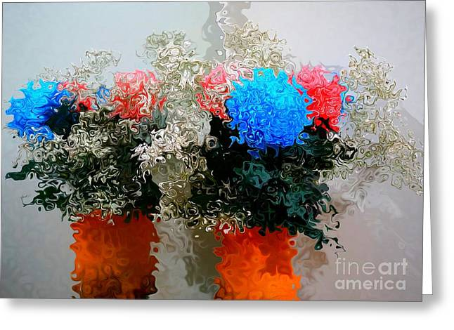 Reflection Of Flowers In The Mirror In Van Gogh Style Greeting Card