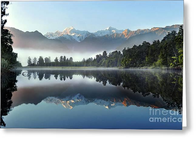 Reflection Of Lake Matheson Greeting Card