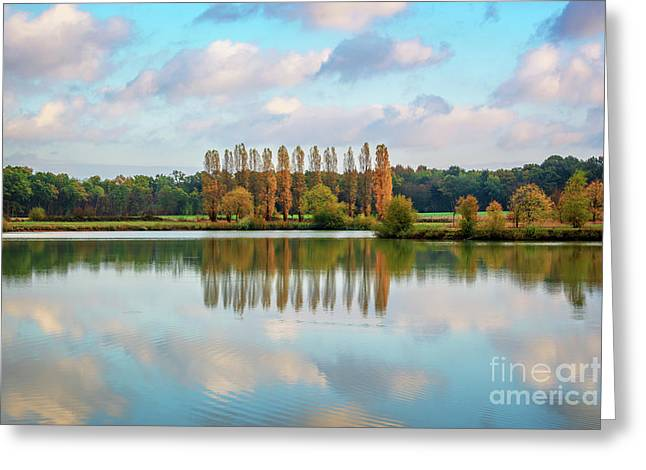 Reflections Of Clouds In A Pond Greeting Card