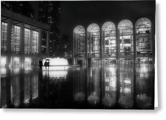 Refuge Under The Umbrella At Lincoln Center Greeting Card