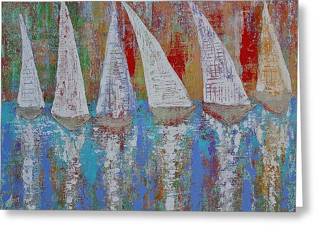 Regatta Original Painting Greeting Card