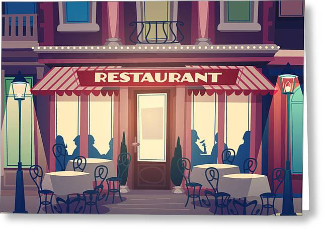 Restaurant Facade. Retro Style Vector Greeting Card