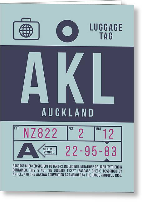 Retro Airline Luggage Tag 2.0 - Akl Auckland New Zealand Greeting Card