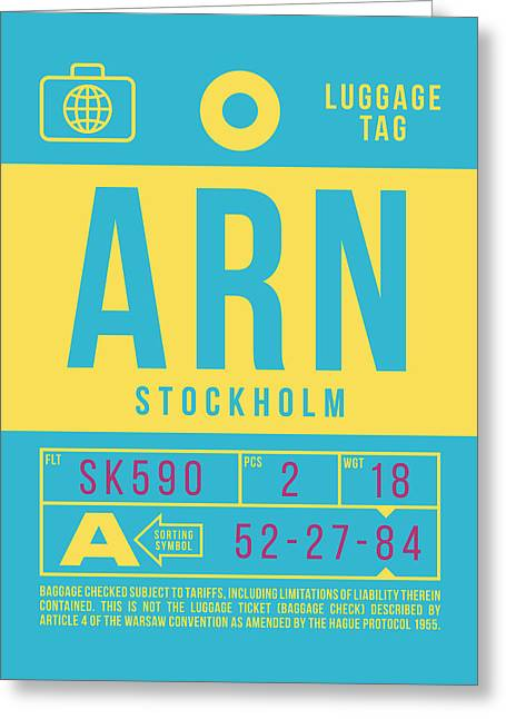 Retro Airline Luggage Tag 2.0 - Arn Stockholm Sweden Greeting Card