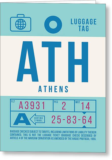 Retro Airline Luggage Tag 2.0 - Ath Athens Greece Greeting Card