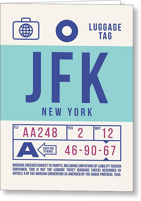 Retro Airline Luggage Tag 2.0 - Jfk New York United States Greeting Card