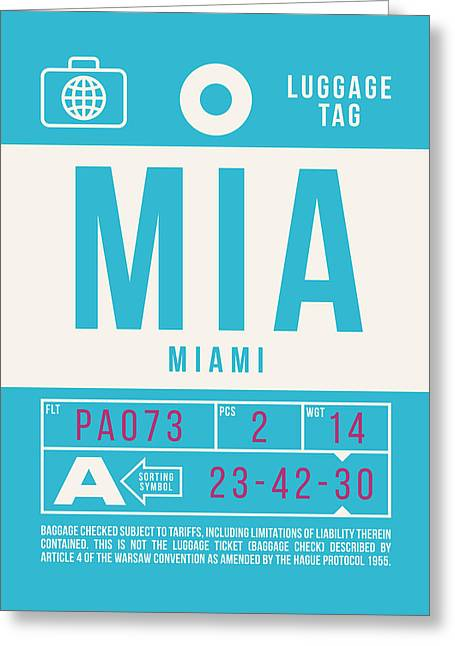 Retro Airline Luggage Tag 2.0 - Mia Miami International Airport United States Greeting Card