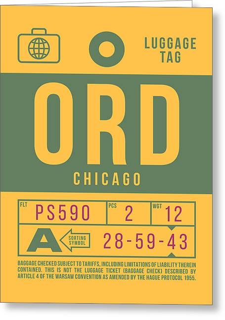 Retro Airline Luggage Tag 2.0 - Ord Chicago O'hare Airport United States Greeting Card