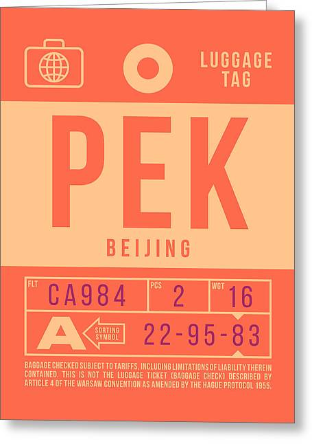 Retro Airline Luggage Tag 2.0 - Pek Beijing International Airport China Greeting Card