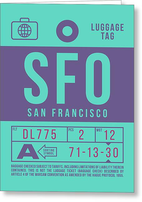 Retro Airline Luggage Tag 2.0 - Sfo San Francisco International Airport United States Greeting Card