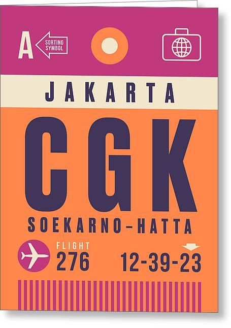 Retro Airline Luggage Tag - Cgk Jakarta Indonesia Greeting Card