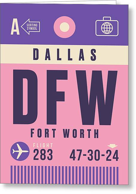Retro Airline Luggage Tag - Dfw Dallas Fort Worth United States Greeting Card