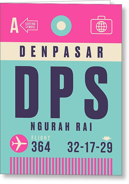 Retro Airline Luggage Tag - Dps Denpasar Bali Indonesia Greeting Card