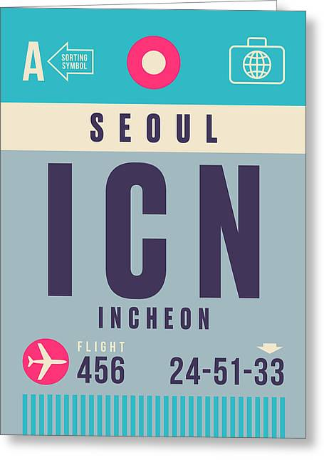 Retro Airline Luggage Tag - Icn Seoul Incheon Greeting Card