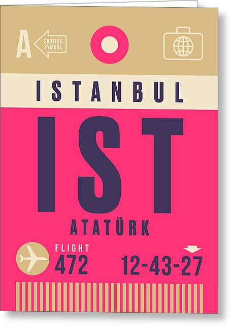 Retro Airline Luggage Tag - Ist Istanbul Airport Greeting Card