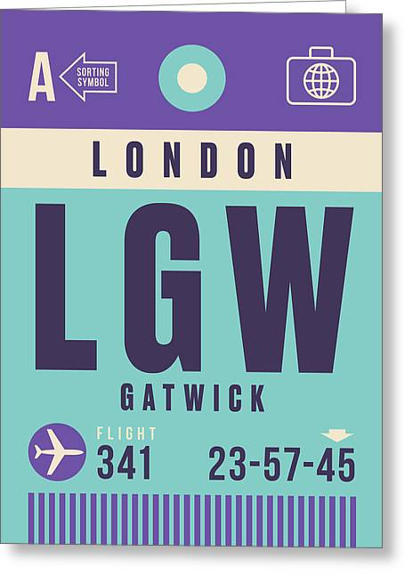 Retro Airline Luggage Tag - Lgw London Gatwick Airport Greeting Card