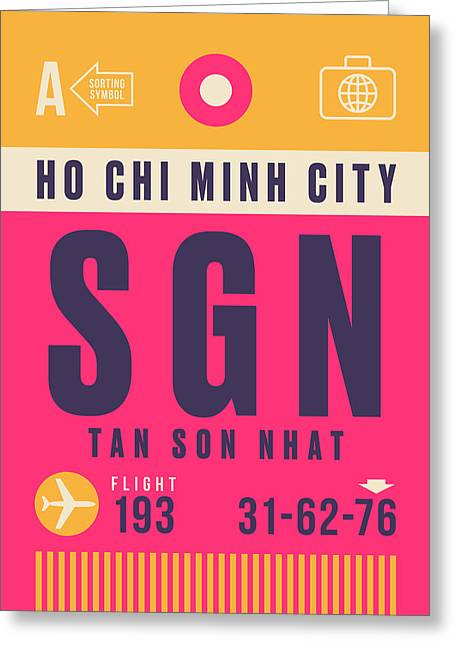 Retro Airline Luggage Tag - Sgn Ho Chi Minh City Vietnam Greeting Card