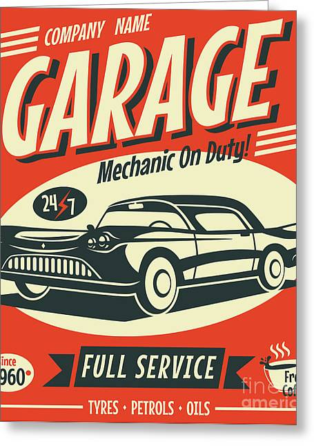 Retro Car Service Sign. Vector Greeting Card