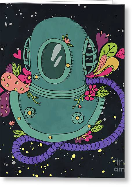 Retro Diving Suit With Abstract Greeting Card