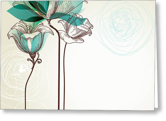 Retro Floral Background Greeting Card