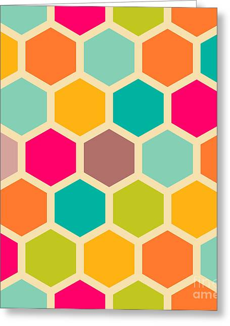 Retro Geometric Hexagon Seamless Pattern Greeting Card