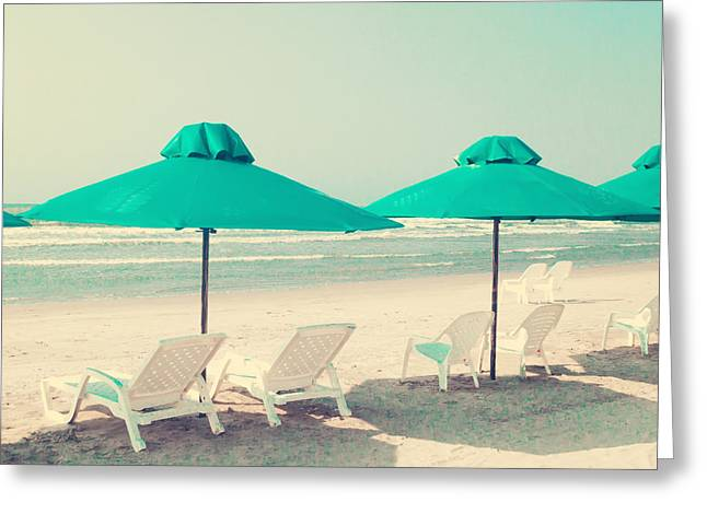 Retro Pastel Beach Greeting Card by Andrekart Photography