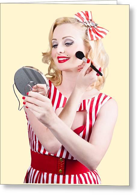 Retro Pin-up Woman Doing Beauty Make-up Greeting Card