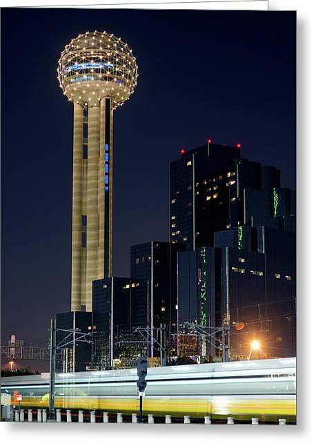 Greeting Card featuring the photograph Reunion Tower Dart Train 111918 by Rospotte Photography