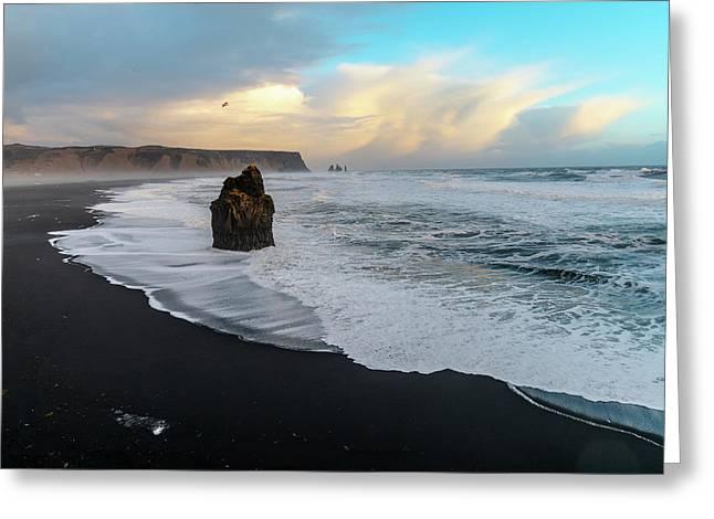 Reynisfjara Beach At Sunset Greeting Card