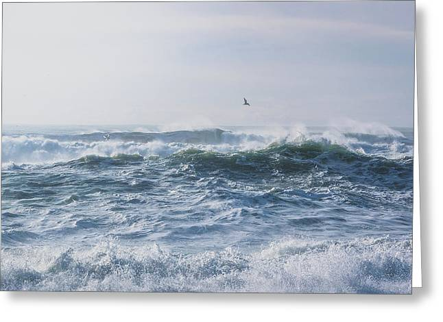 Reynisfjara Seagull Over Crashing Waves Greeting Card