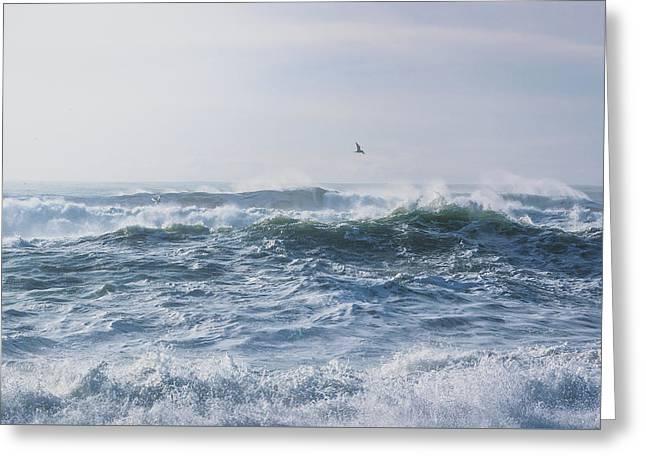 Greeting Card featuring the photograph Reynisfjara Seagull Over Crashing Waves by Nathan Bush