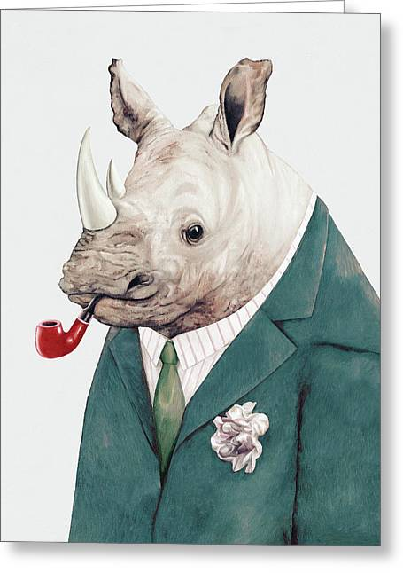 Rhino In Teal Greeting Card