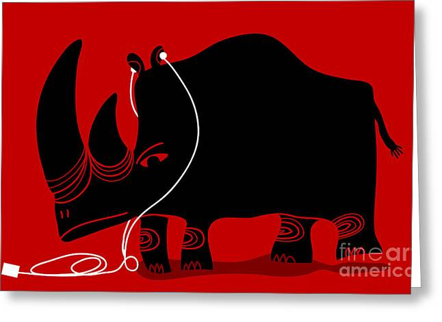Rhino With A White Portable Music Greeting Card