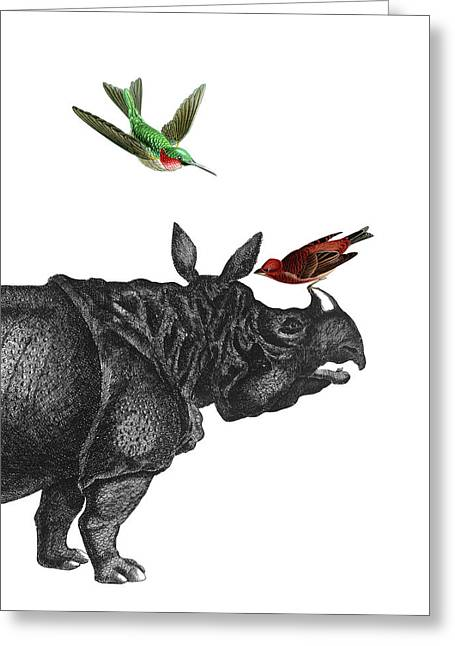 Rhinoceros With Birds Art Print Greeting Card