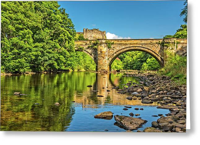 Richmond Castle And The River Swale Greeting Card by David Ross