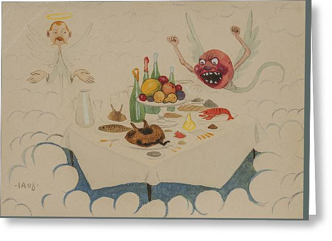 Greeting Card featuring the drawing Riddar Rudis I Himlen by Ivar Arosenius