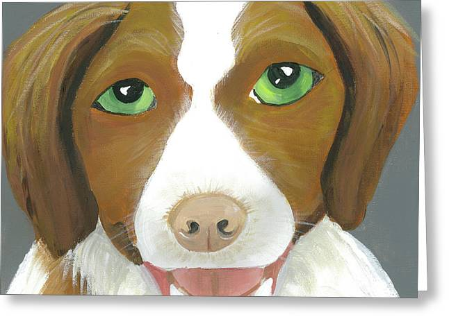 Greeting Card featuring the painting Riley by Suzy Mandel-Canter
