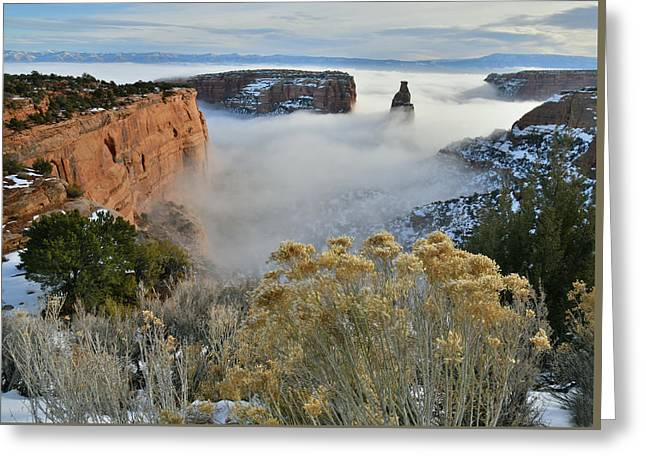 Rim Rock Drive View Of Fogged Independence Canyon Greeting Card