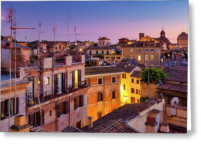 Greeting Card featuring the photograph Rione Pigna's Rooftops by Fabrizio Troiani