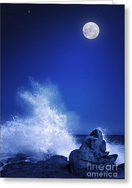Rising Moon Over Rocky Coastline At Greeting Card