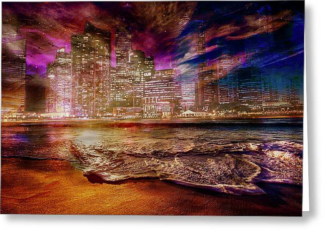 Rising Tide On The Hudson Montage Greeting Card