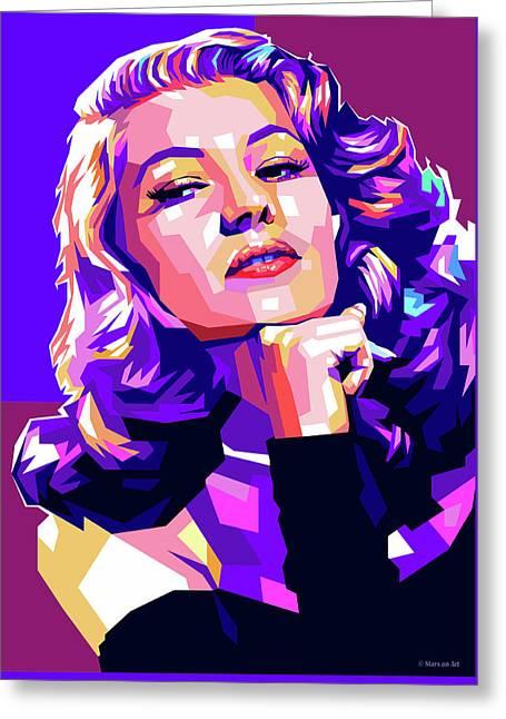 Rita Hayworth Illustration Greeting Card
