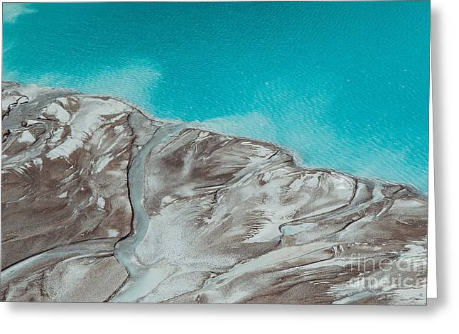River Delta Flowing Into The Blue Pond Greeting Card