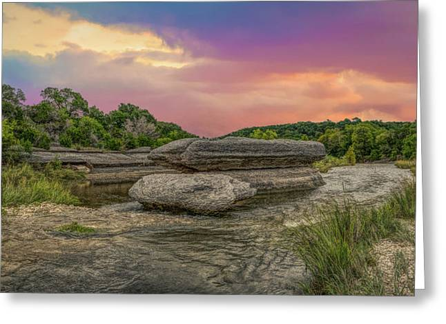 River Erosion At Sunset Greeting Card