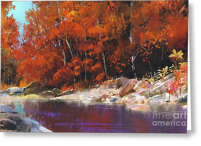 River In The Autumn Forest,landscape Greeting Card