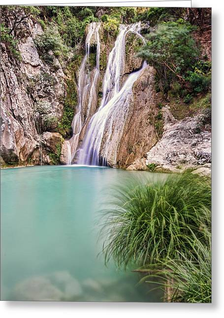 Greeting Card featuring the photograph River Neda Waterfalls by Milan Ljubisavljevic