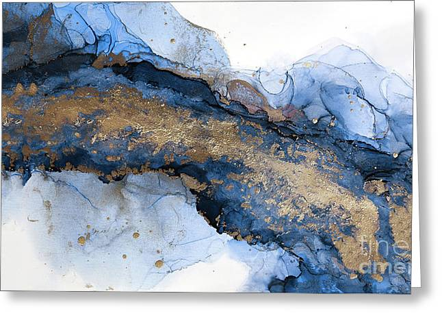 River Of Blue And Gold Abstract Painting Greeting Card